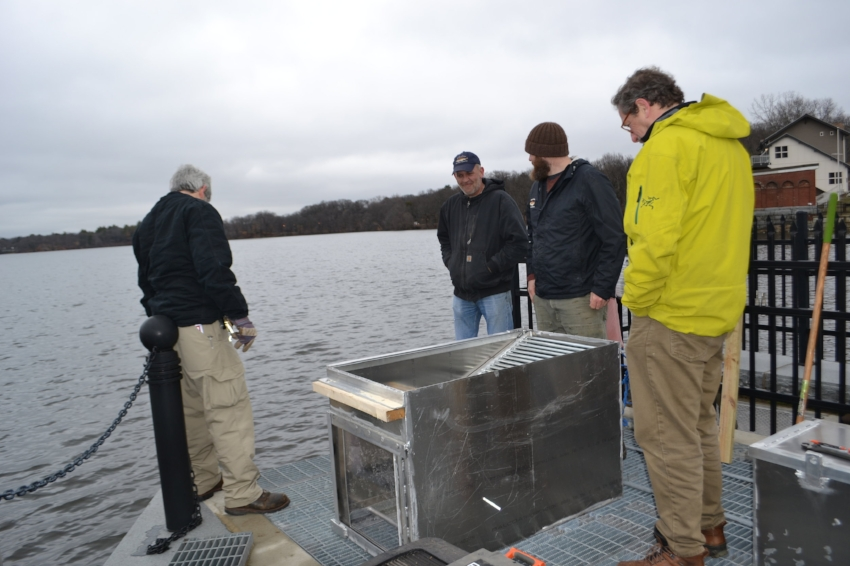 MA-DCR, MA-DMF and MyRWA install the box to house the video camera at the Mystic Lakes fish ladder, spring 2017.