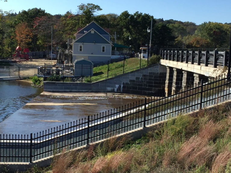 A view of the dam between the Upper and Lower Mystic Lakes.