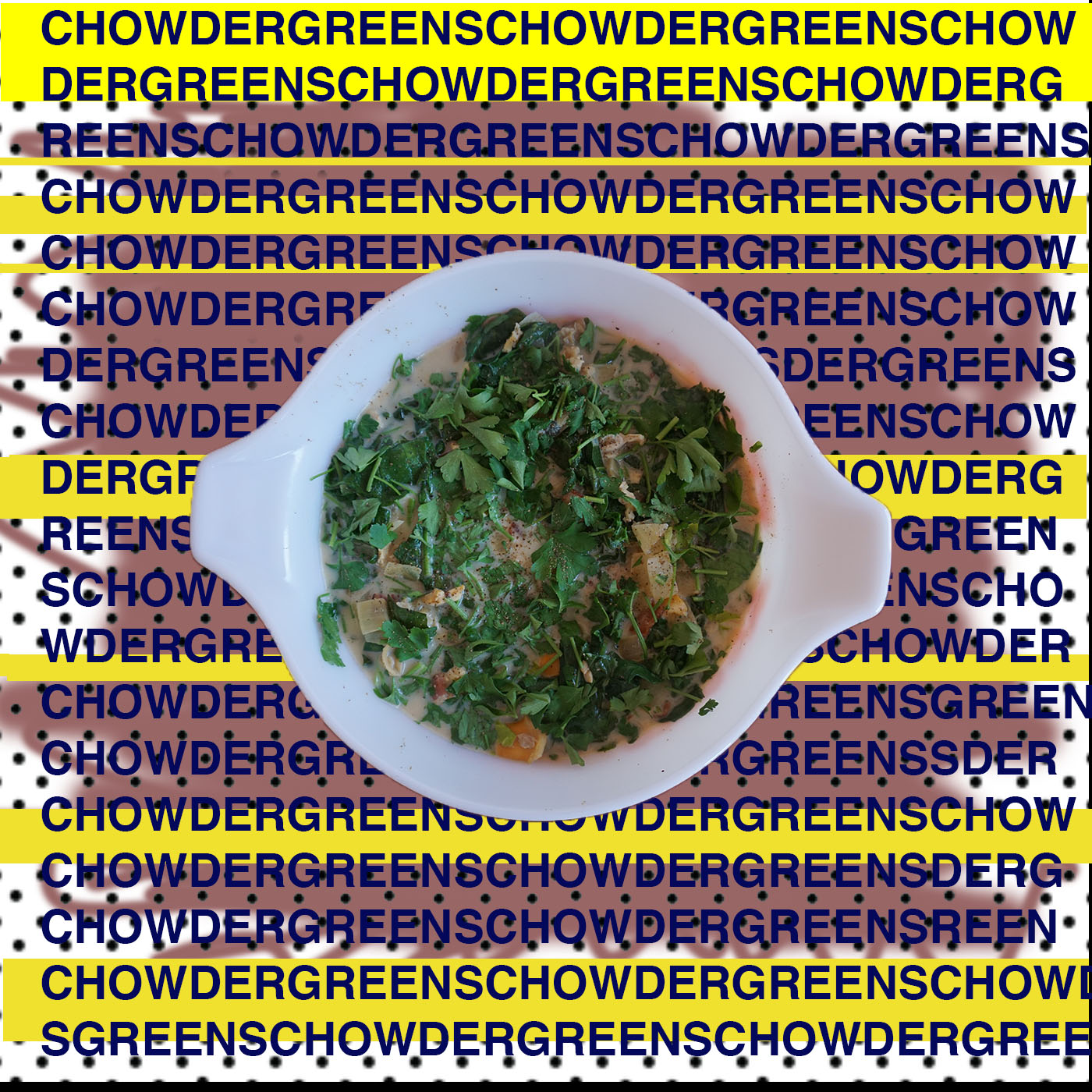 CHOWDER GREENS      1         Bunch Collard Greens///cleaned and rough chopped  1         Bunch Lacinato Kale///cleaned and rough chopped  1 #         Baby (or regular) Spinach   1/2 #     Bacon////diced   12         little neck clams   2         White Onions//////large dice  2         Garlic, cloves//////minced  8 oz        Clam Juice  1#        Raw Chopped Clams (the frozen ones)  1 cup    Heavy Cream  1 bunch     Parsley, rough chopped  LOTS    fresh cracked black pepper     EXTRA VIBES::::OYSTER CRACKERS:::::::     Steam open in the clams in a little bit of water in a pot. Or a crock pot if you are into that. I am. So that's what I did.      Strain the liquid and save it to use later in the recipe.      Let the clams cool and take them out of the shells and chop them up, big pieces are good.     Render the bacon in the crock pot/// slow cooker ///instant pot///multi cooker/// regular pot on browning///sautee temperature.      Once its browned add the onions and garlic and cook until they are lightly caramelized and softened.      Then add the greens, starting with the collards, then the lamcinato and keep stirring until its all wilted and then add the spinach.      Add the clam juices, and the bottled clam juice. Just to cover the greens and let it come up to a boil and stir it around.      Add the raw chopped clams and stir it around and cook for a minute or two.      Add the Heavy cream and cook for a few minutes.      Crack lots of black pepper and give it a taste. Should be pretty good.      Finish with the parsley.      BONUS CHOWDER GREEN STATUS:     Top with oyster crackers and serve.      Or top with oyster crackers and throw it in the oven for a few.      You can make this as a side dish OR you can cook some raviolis and use the chowder greens AS THE SAUCE FOR THE RAVIOLI! I did it the other night.      It's true.