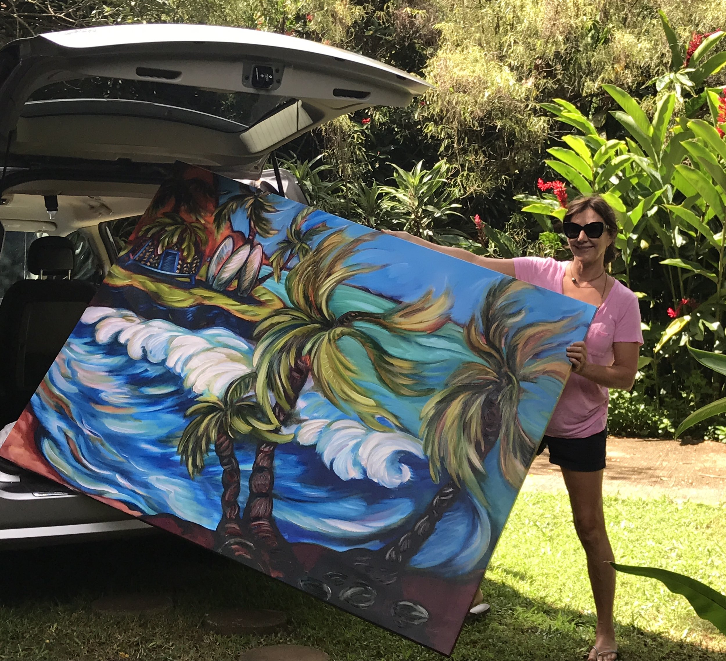 "Artist Kim McDonald with a Supersize ""Wind & Waves.""  Special delivery to a client in Maui, Hawai'i"