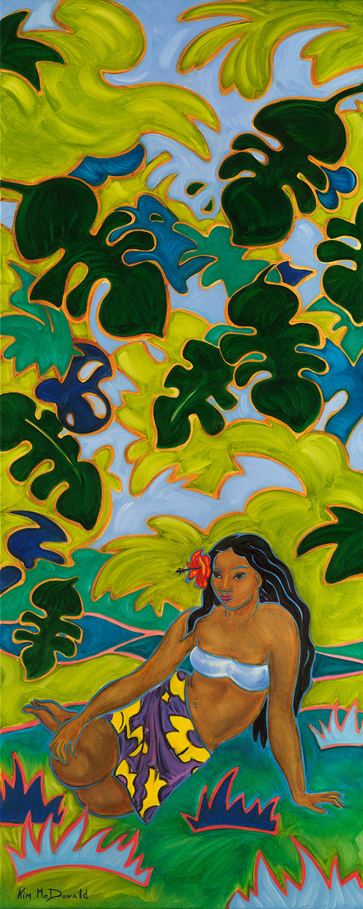 """I love painting Polynesian women. They present such femininity and strength within their culture. I love to depict that throughout my paintings.""    ""Tropical Haven"" Size 13""X32"" & 20""X50"""