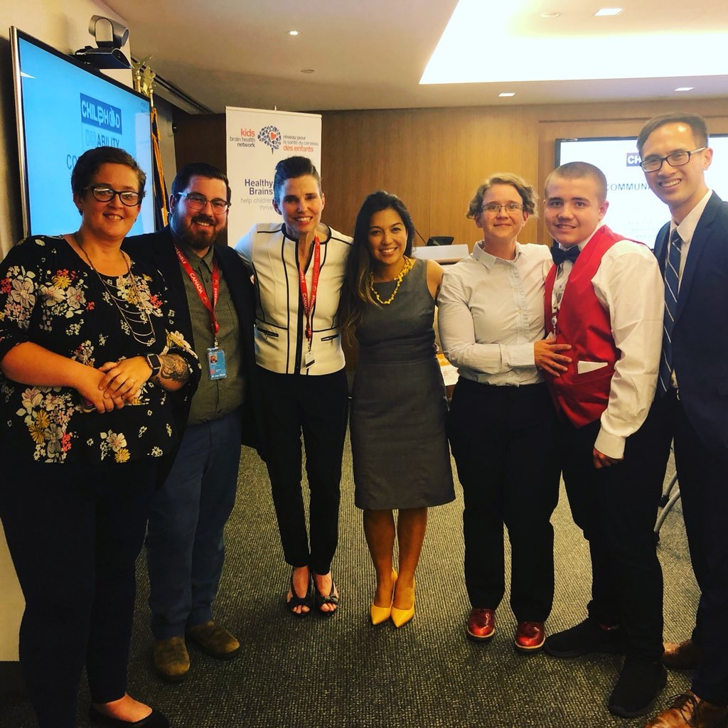 Our Team (from left to right: Rachel Martens, Nikolas Harris, Kirsty Duncan, Keiko Shikako-Thomas, Susan Cosgrove, Liam Cosgrove, Jonathan Lai)