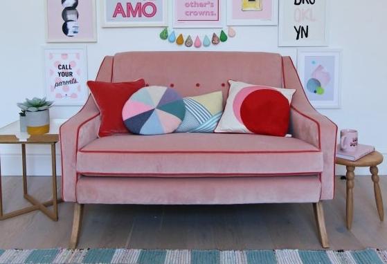 Big Little Bell Pink Velvet Sofa