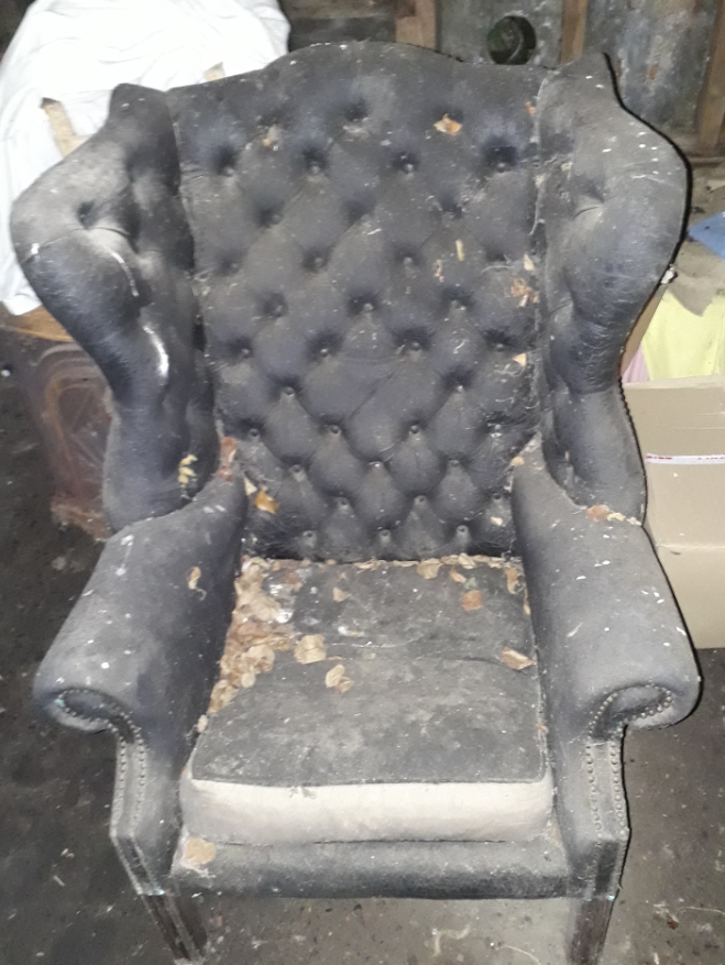 Wingback chair before