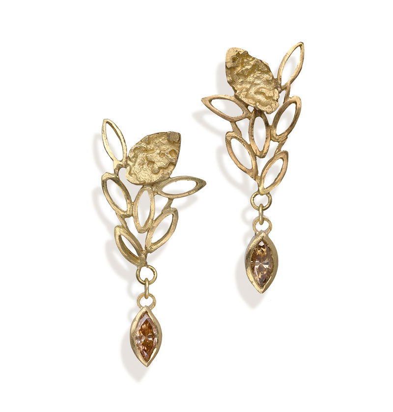 18ct gold earrings with cognac diamonds