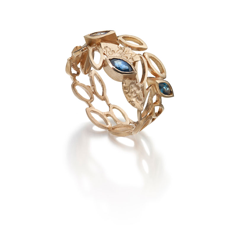 9ct rose gold ring with marquise sapphires