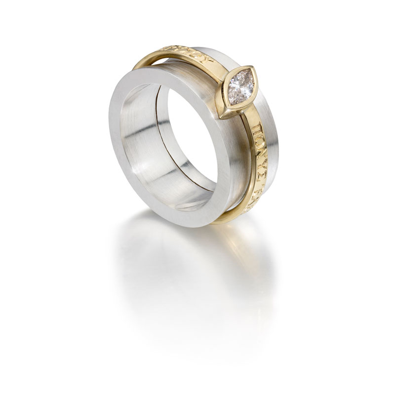 Silver outer ring, 18ct gold inner ring with diamond without engraving