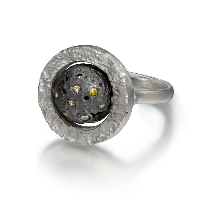 Silver and black rhodium rotating sphere ring with diamonds