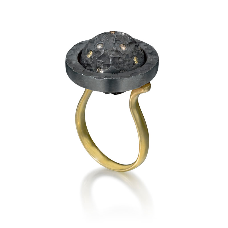 18ct gold and black rhodium plated silver rotating ring with diamond