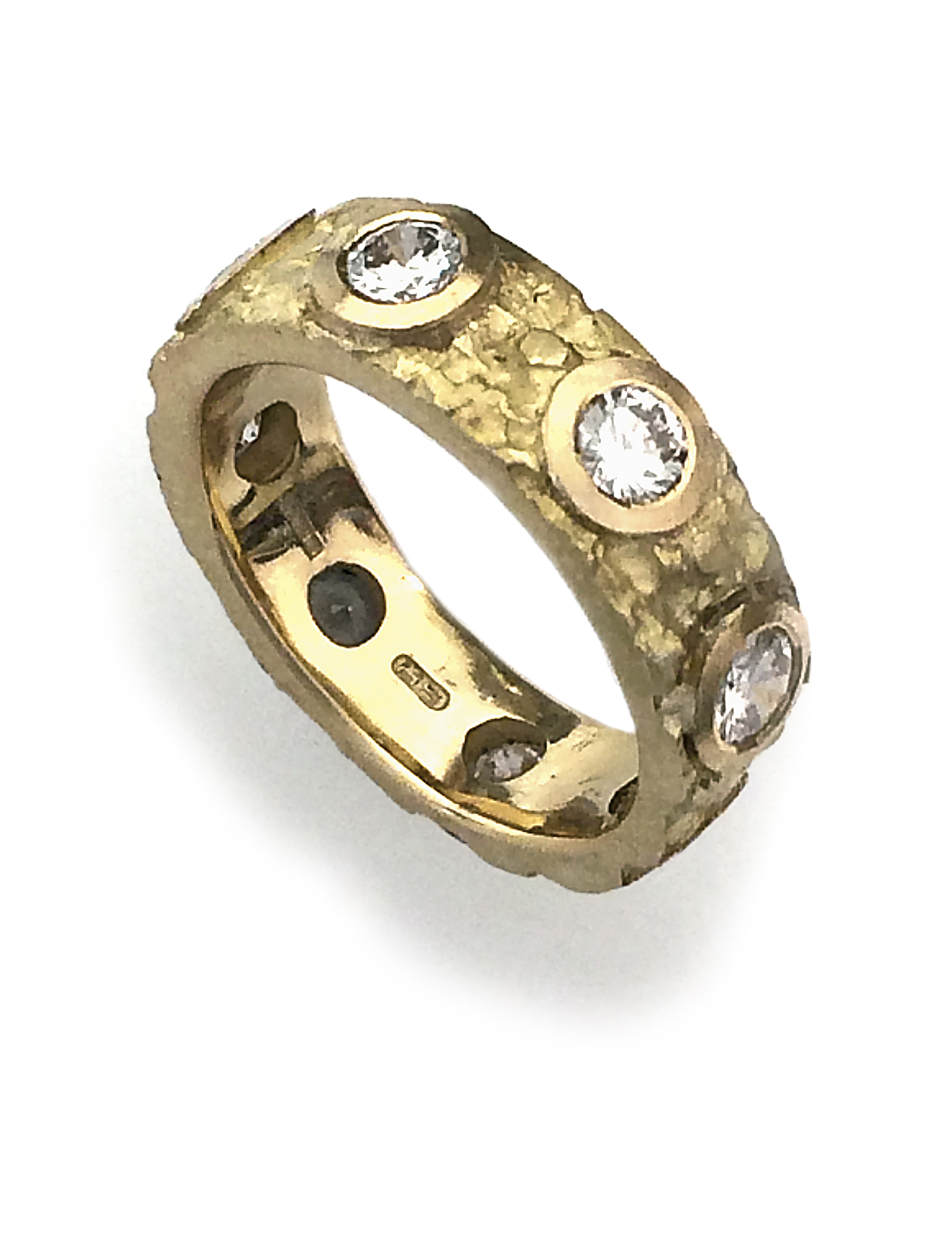 commission piece 1 etched 18ct gold and diamond ring