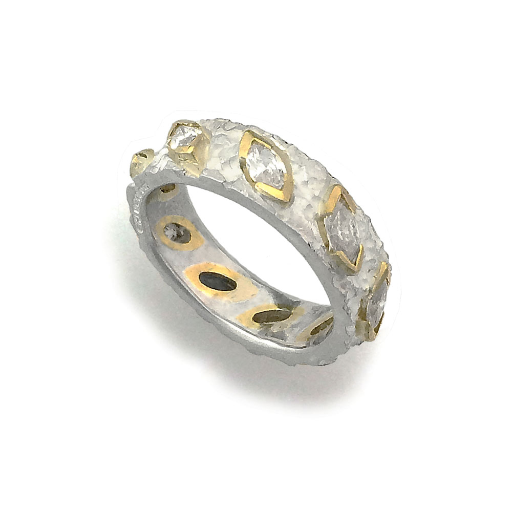 Etched 18ct white gold ring with 9 marquise diamonds in  navette collets in 18ct yellow gold