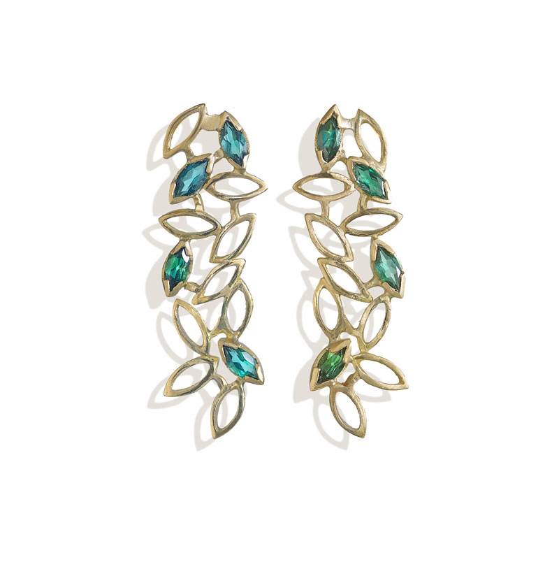 18ct gold earrings with marquis indicolite tourmalines length 3.5cm.