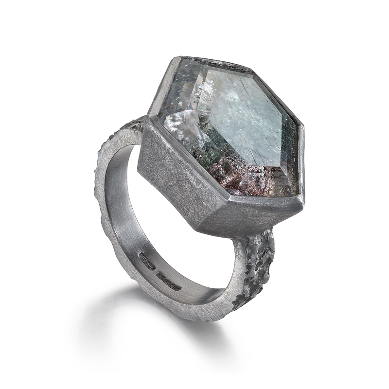 Silver etched ring with lodolite quartz
