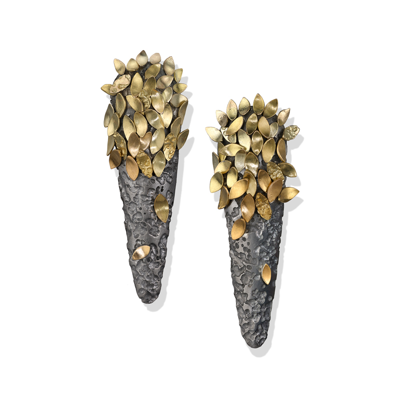 Grey rhodium silver earrings with gold leaves