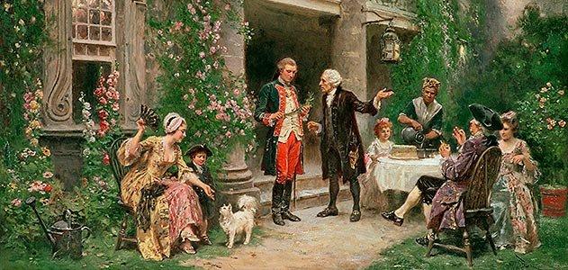 George Washington visiting Bartram's Garden.