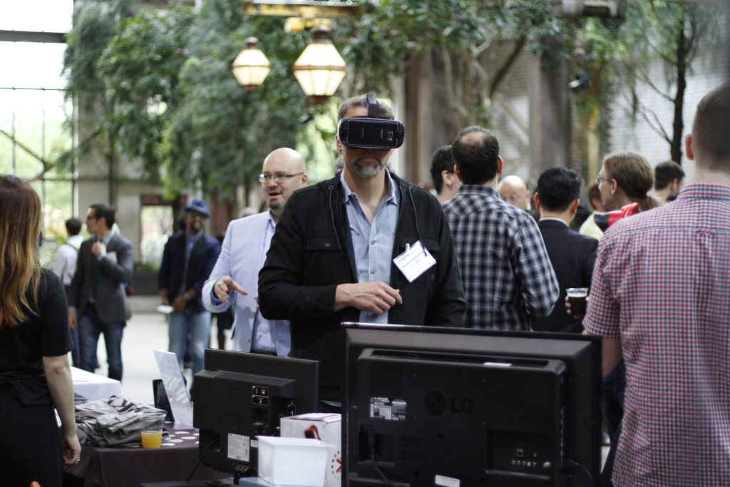 An enthusiast dons a Virtual Reality headset at Philly Tech Week 2017.