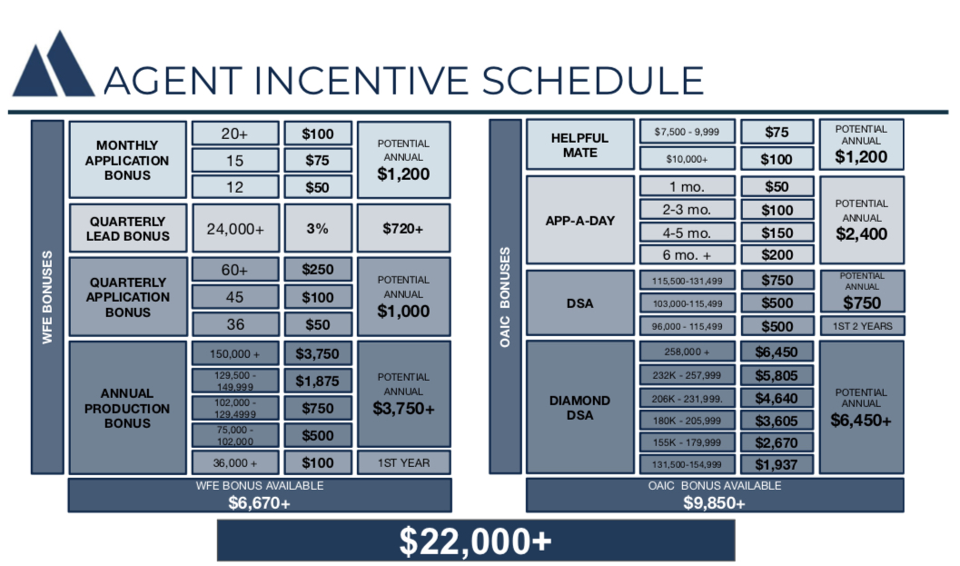 BONUS SCHEDULE - Agents have the opportunity to earn extra cash each month and quarter, both from our agency and the company. That adds up fast. This schedule does not even reflect contests earnings. There is a lot of extra money to be made!