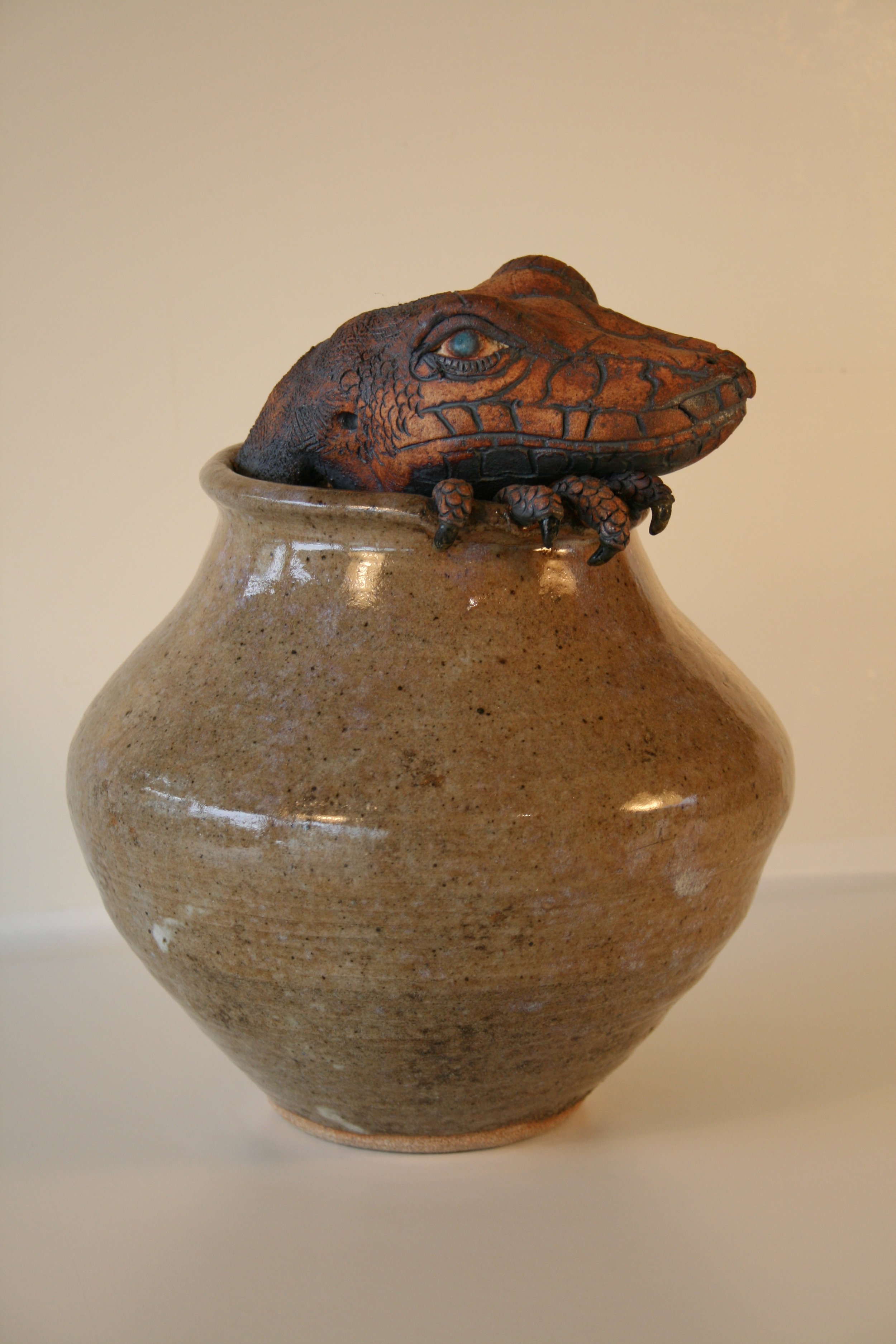 Claw Pot series  Lizard's Dilemma  9 in..jpg