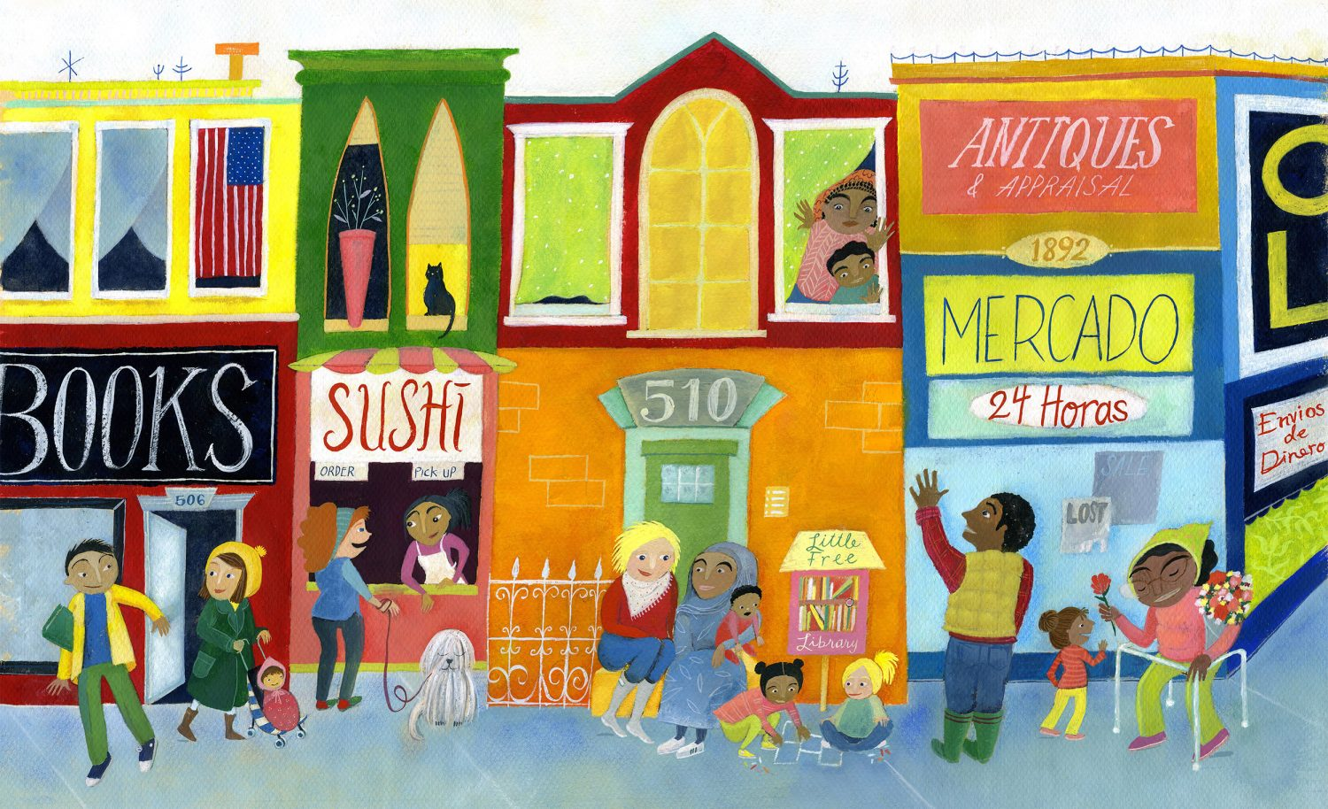 Mercado Street  © 2018 Aimee Hagerty Johnson. Gouache, acrylic, pastel, and ink.