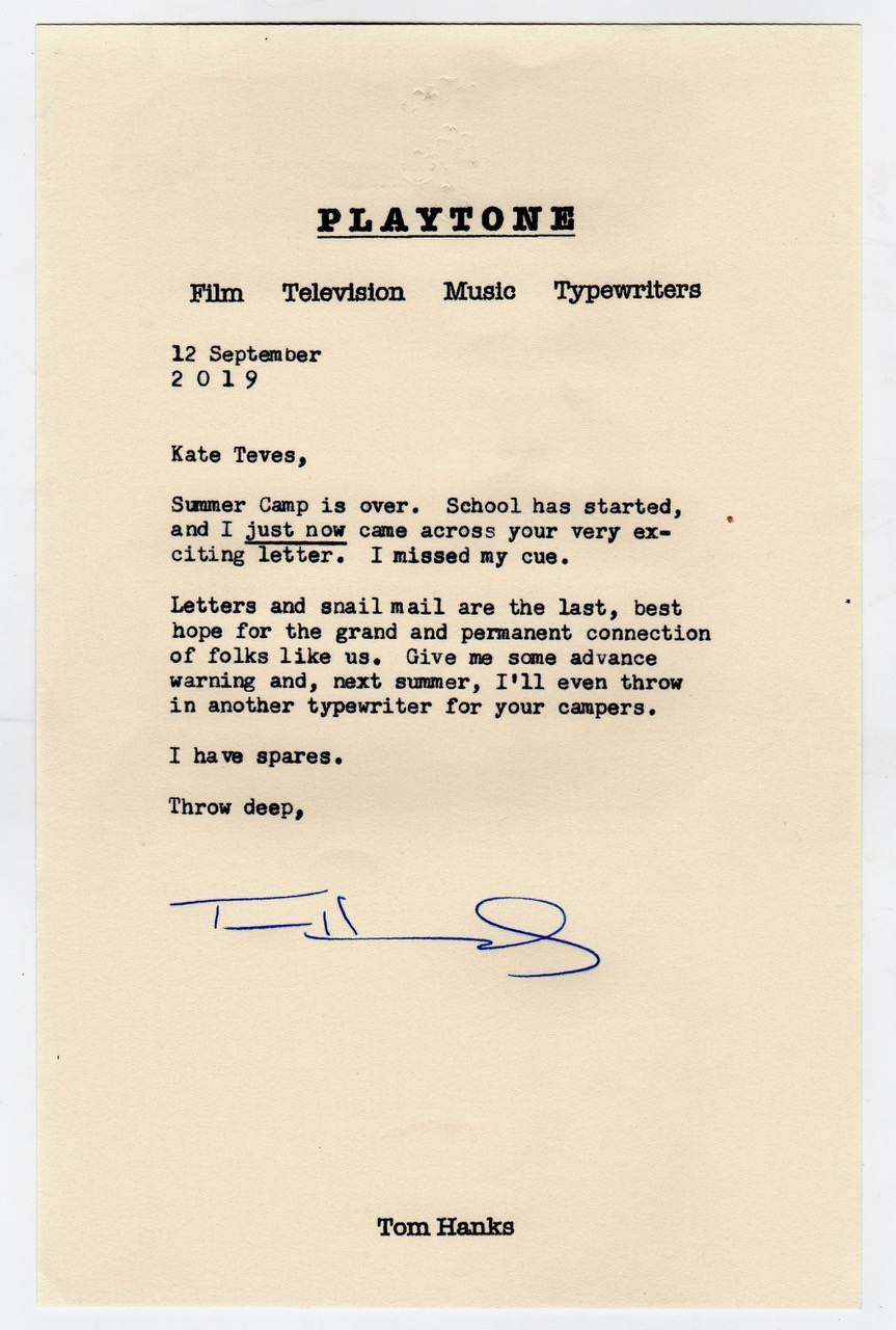Tom Hanks sent me a typed letter on his Playtone stationery.