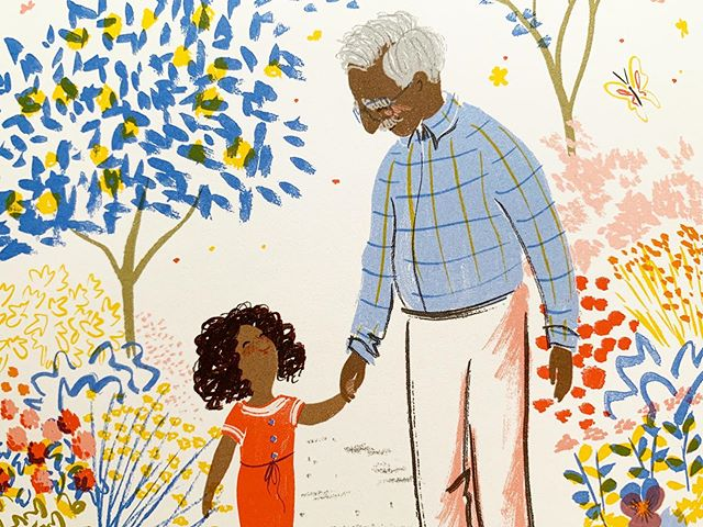 """Grandpa's Stories"" by poet @josephcoelhoauthor and artist Allison Colpoys is a beautiful story about memory, grief, and love. It is wonderful. #kidlit #kidlitart #childrensbooks #allisoncolpoys #grandparents"