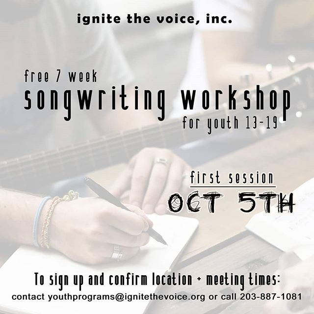 Free songwriting workshop for youth ages 13 - 19, starting on Oct 5th. Contact us today to sign up!! #songwriting #free #workshop #youthorg #community #signup #ignitethevoice #thevoiceignited