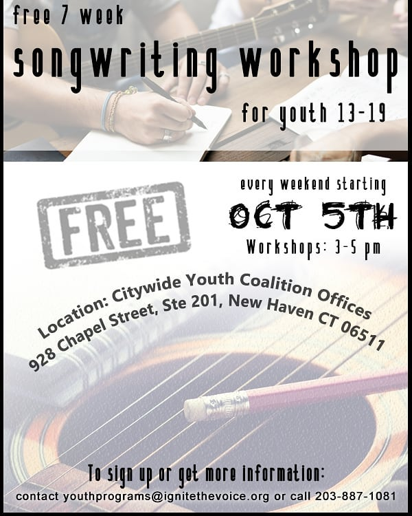 FREE songwriting workshop for young adults ages 13-19 years old... starts on Oct 5th, from 3-5 pm. Email youthprograms@ignithethevoice.org if interested.  Instructor: @jemarphoenix  #newhaven #songwriting #free #workshop #ignitethevoice