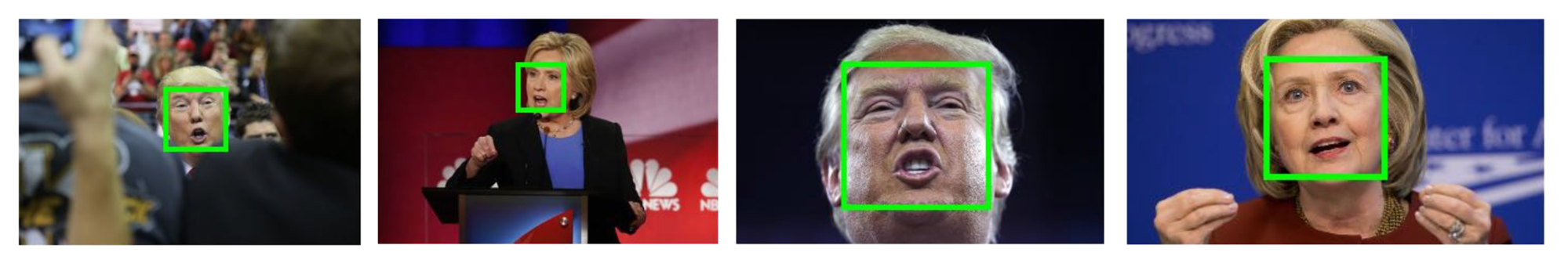 Some of the images from our data set. The faces detected by the web service are highlighted with a green box.