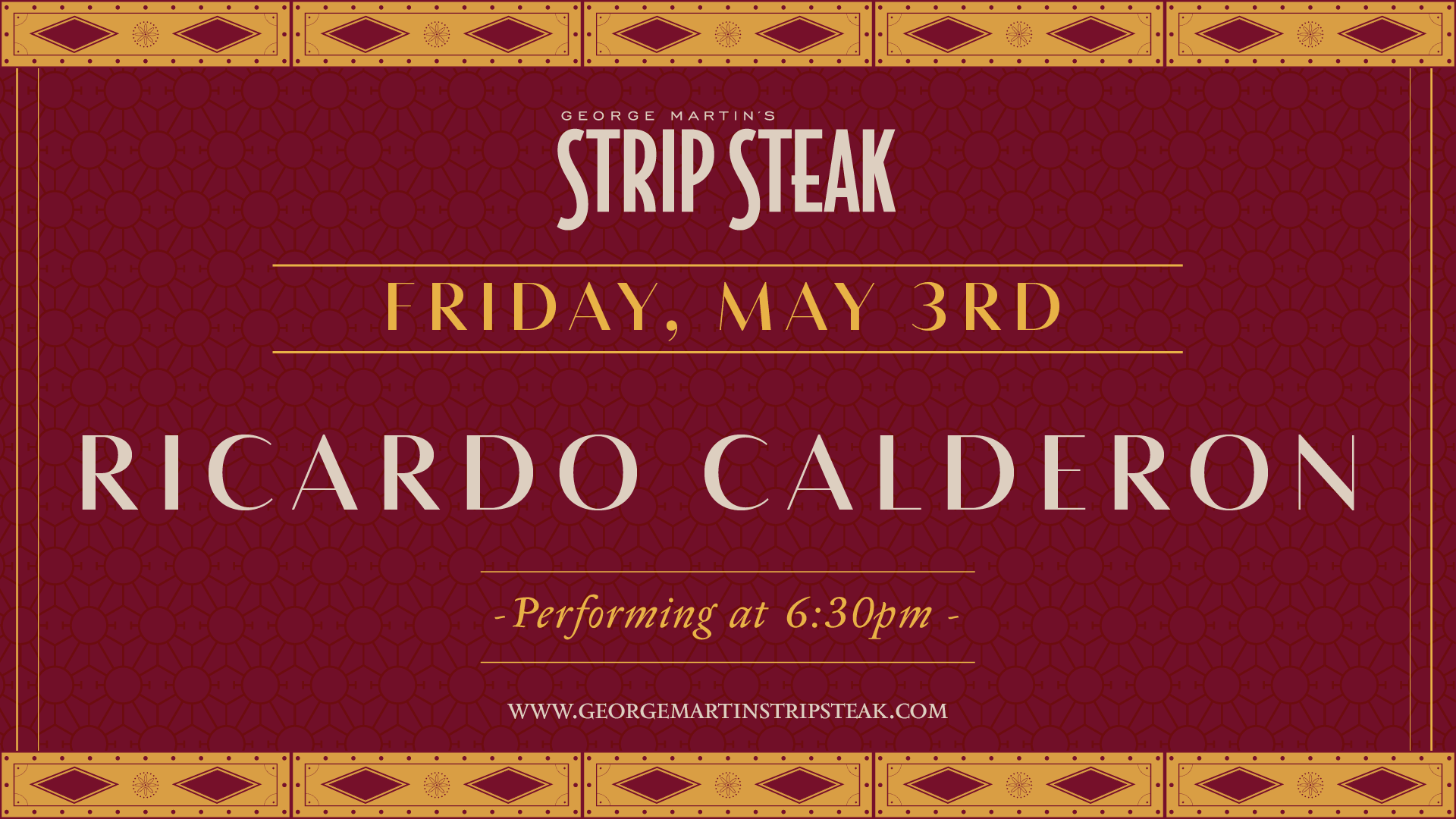 Flyer for Live Music with Ricardo Calderon at 6:30pm