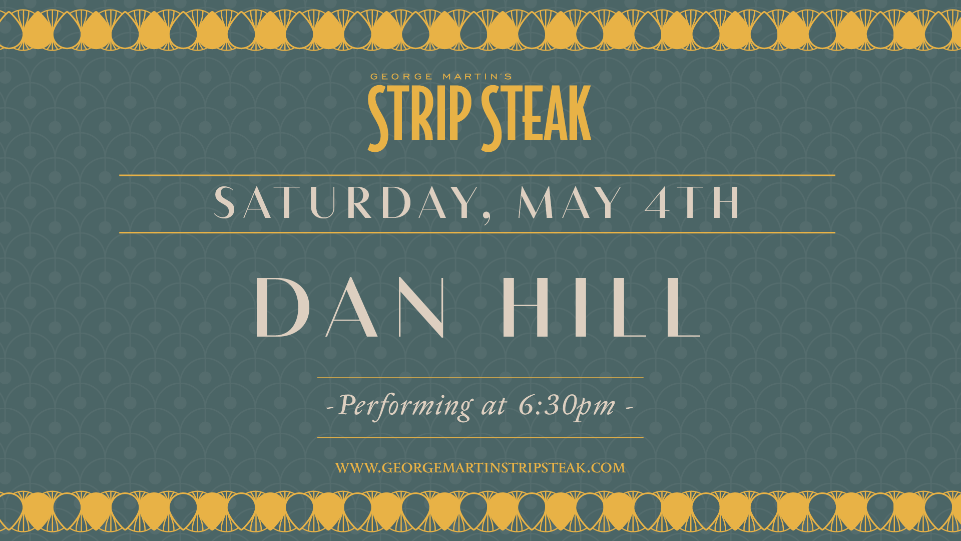 Flyer for live music with Dan Hill at 6:30pm