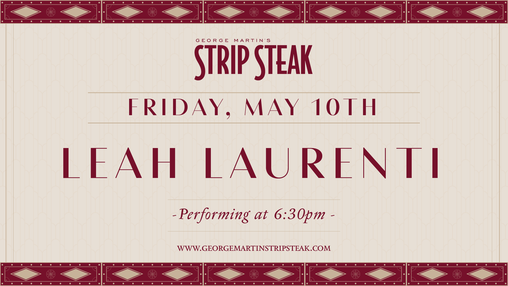 Flyer for live music with Leah Laurenti at 6:30pm.