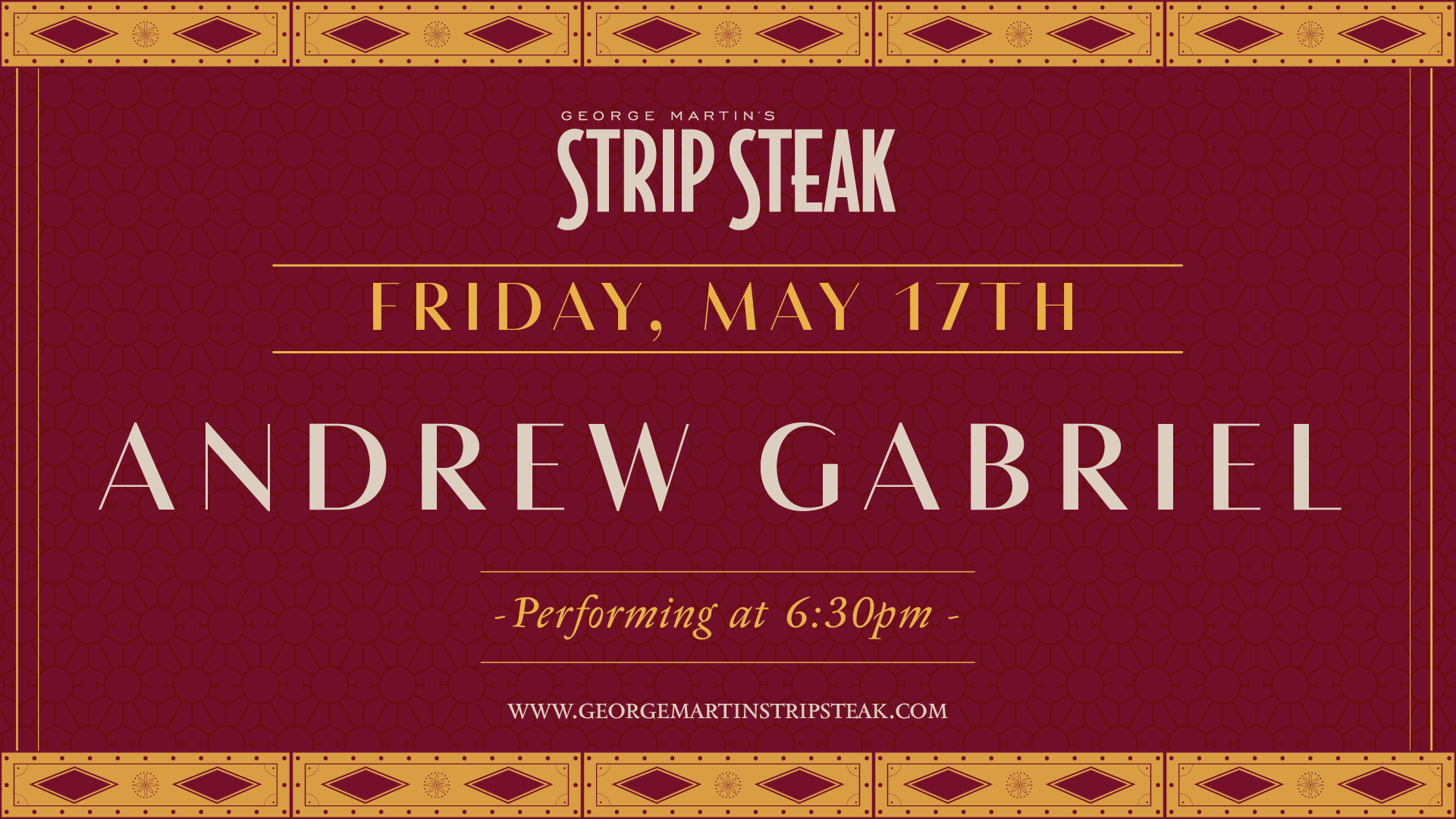 Flyer for live music with Andrew Gabriel at 6:30pm