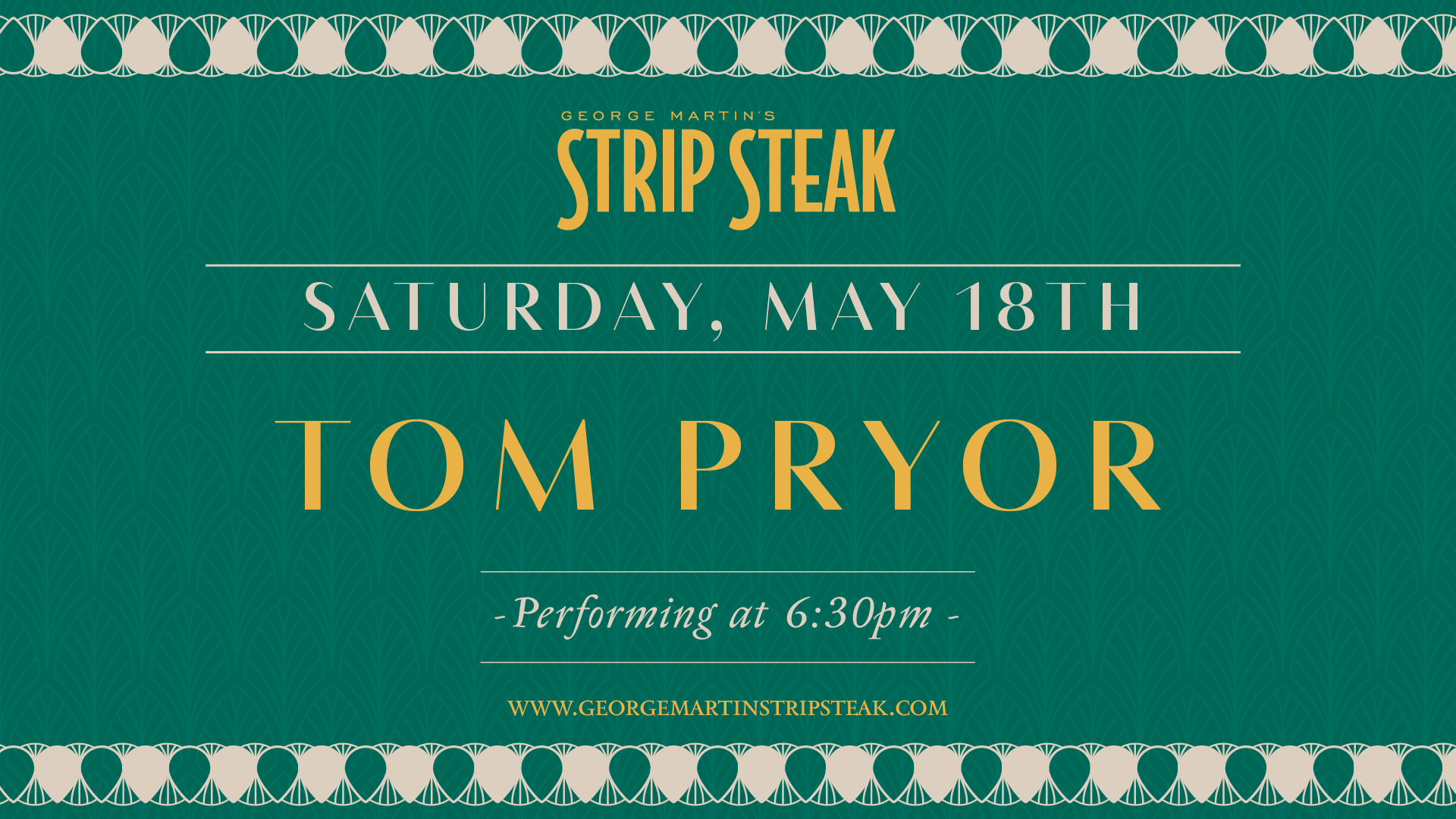 Flyer for live music with Tom Pryor at 6:30pm