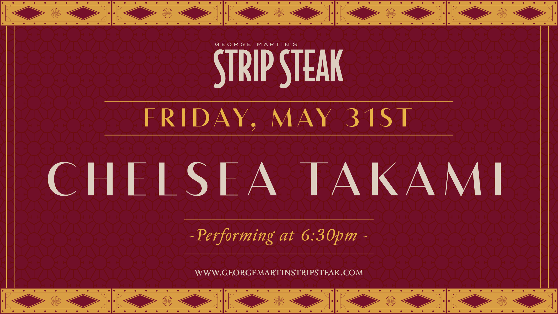 Flyer for live music with Chelsea Takami at 6:30pm.