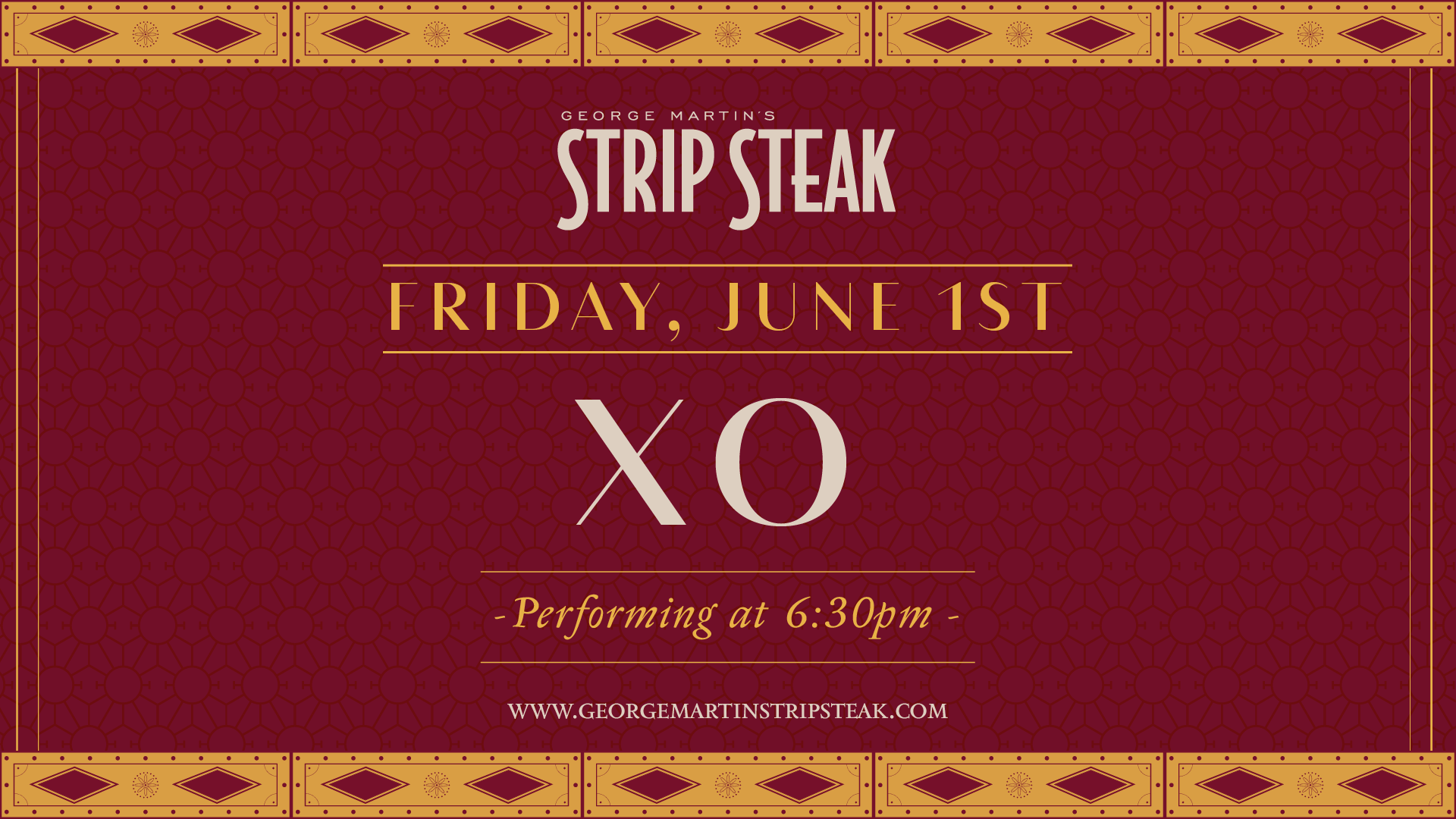 Flyer for live music with XO on June 1st at 6:30pm.