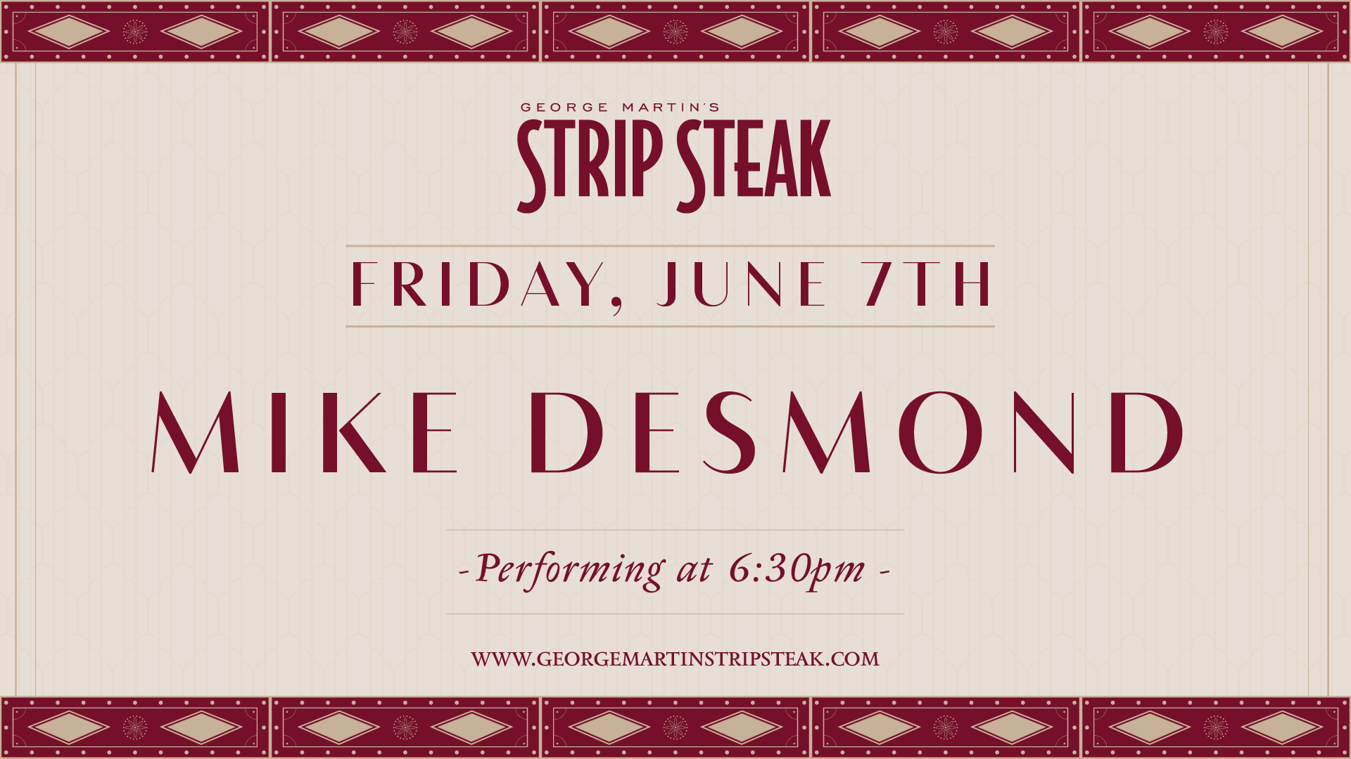 Flyer for live music with Mike Desmond on June 7th at 6:30pm