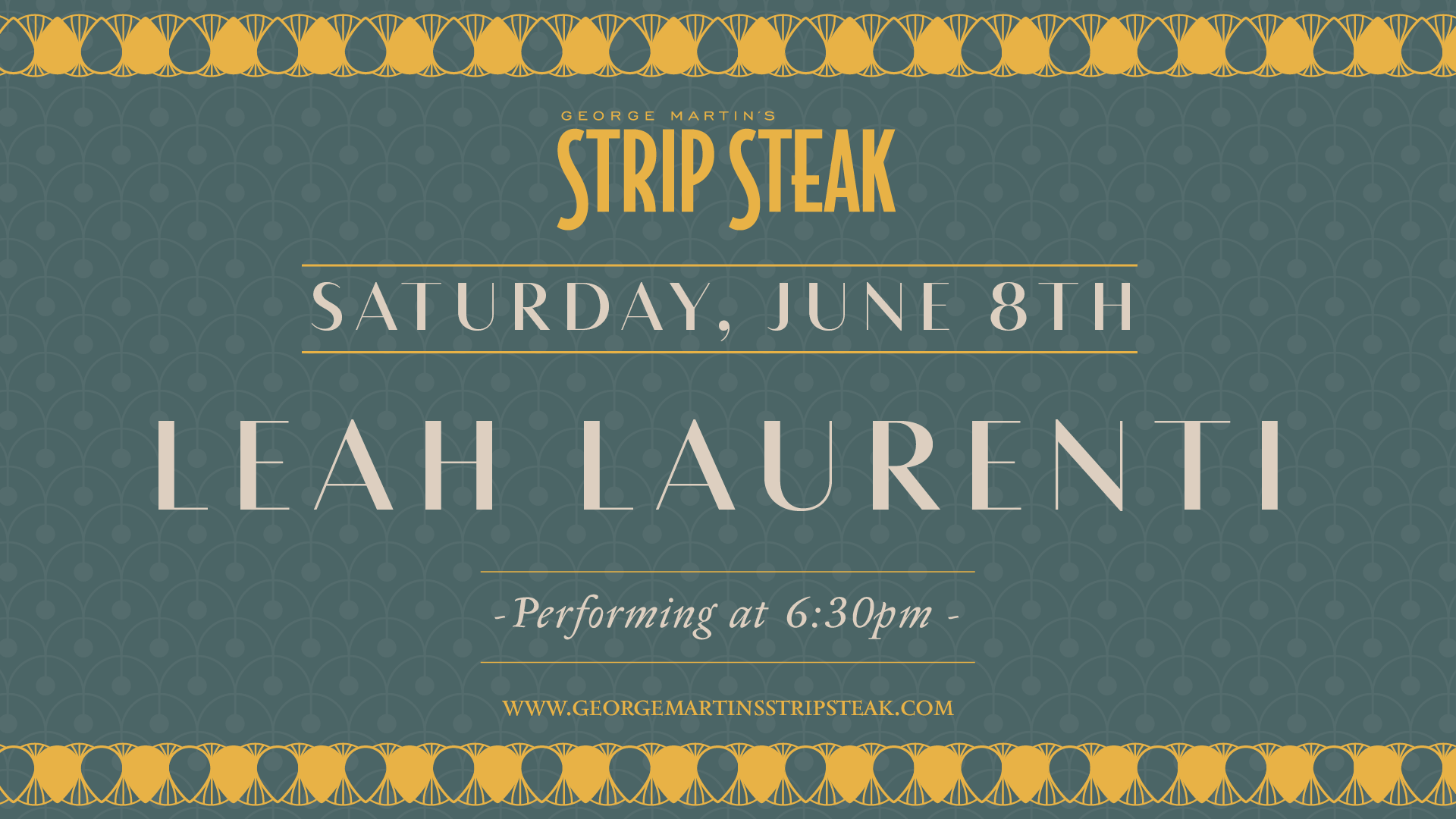 Flyer for live music with Leah Laurenti on June 8th at 6:30pm.