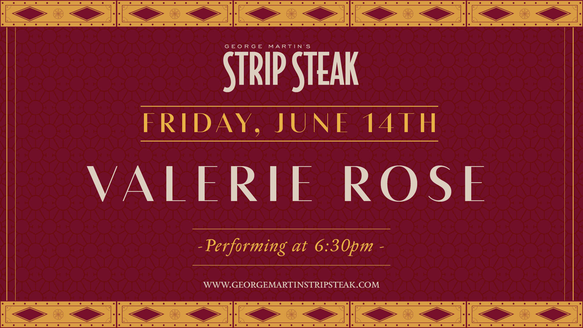 Flyer for live music with Valerie Rose on June 14th starting at 6:30pm.
