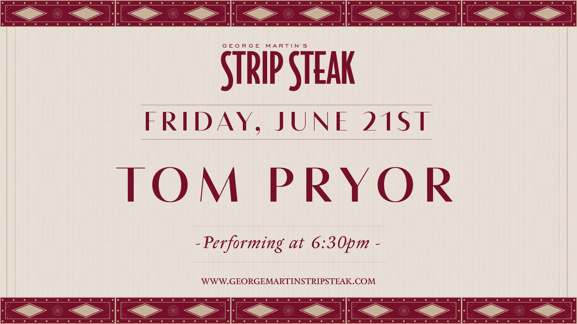 Live music with Tom Pyor on June 21st at 6:30pm.