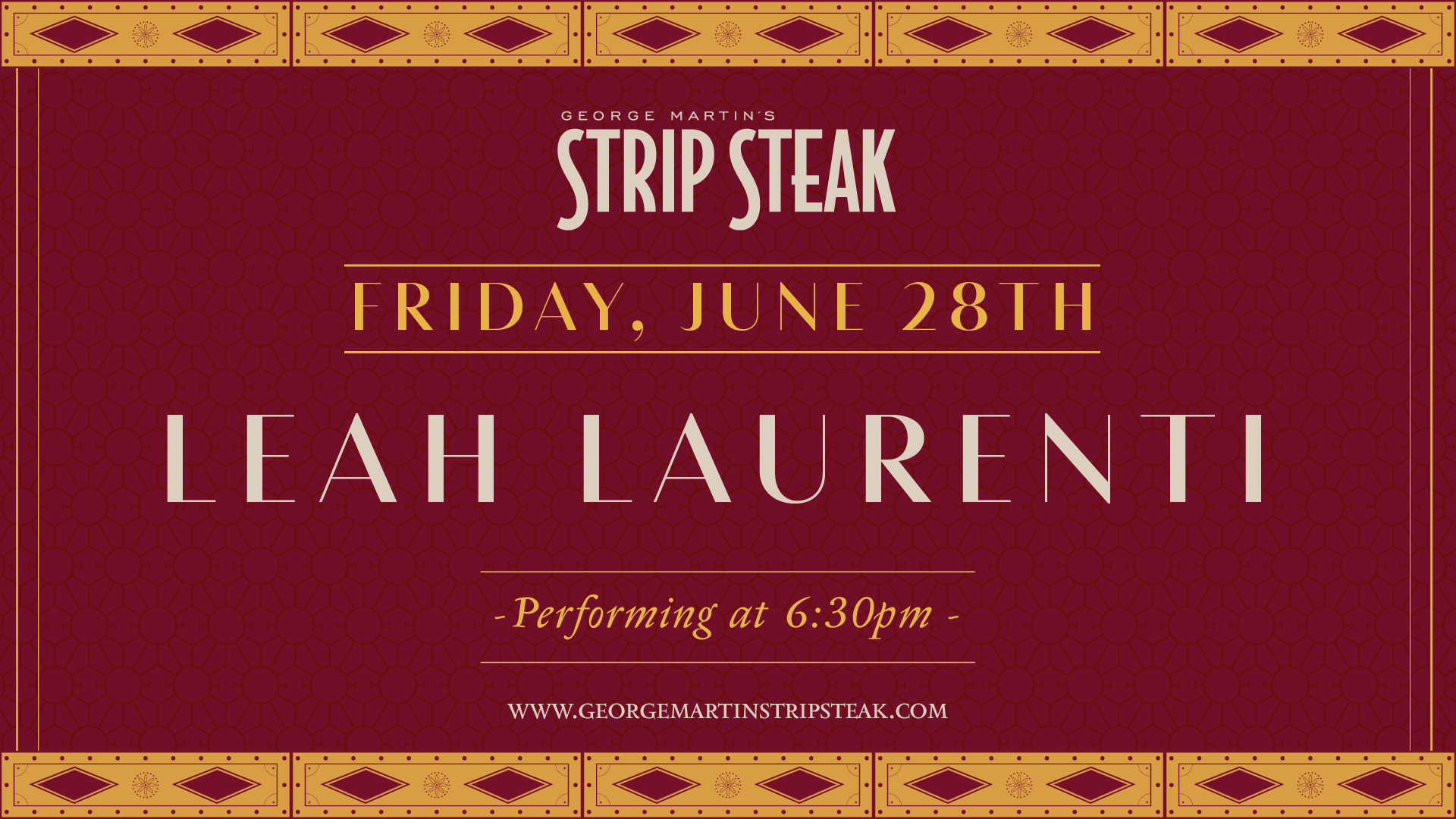Flyer for live music with Leah Laurenti on June 28th starting at 6:30pm.