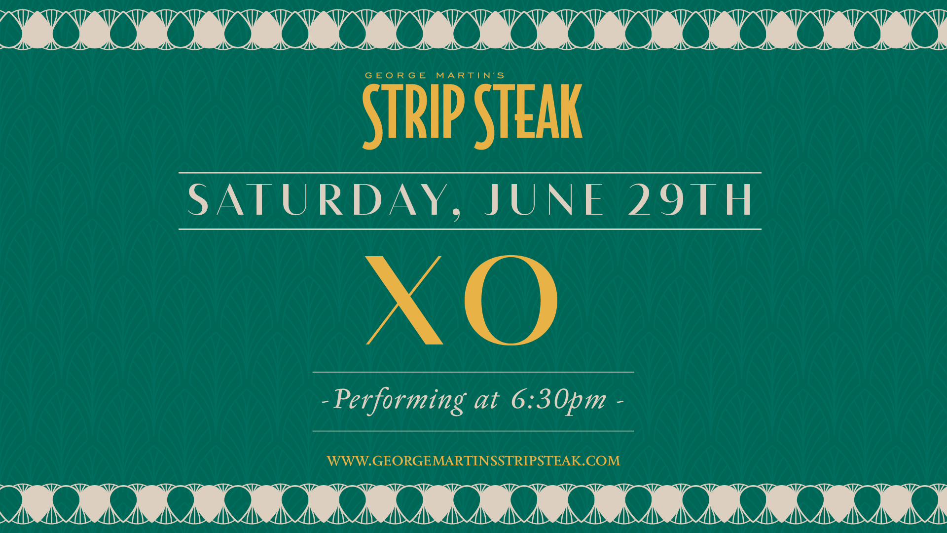 Flyer for live music with XO on June 29th at 6:30pm.