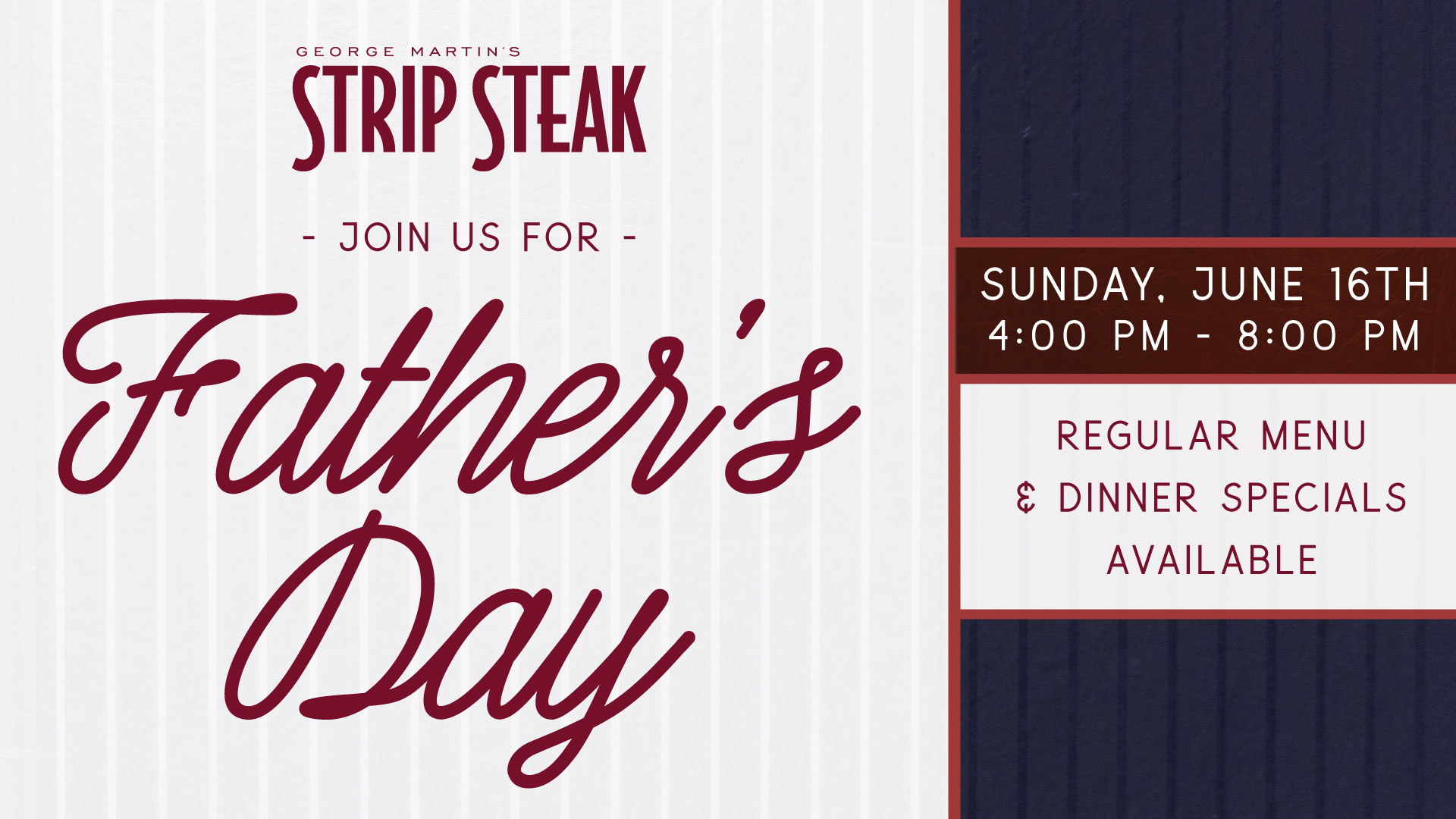 Flyer for Father's Day  on Sunday June 16th from 4 - 8pm