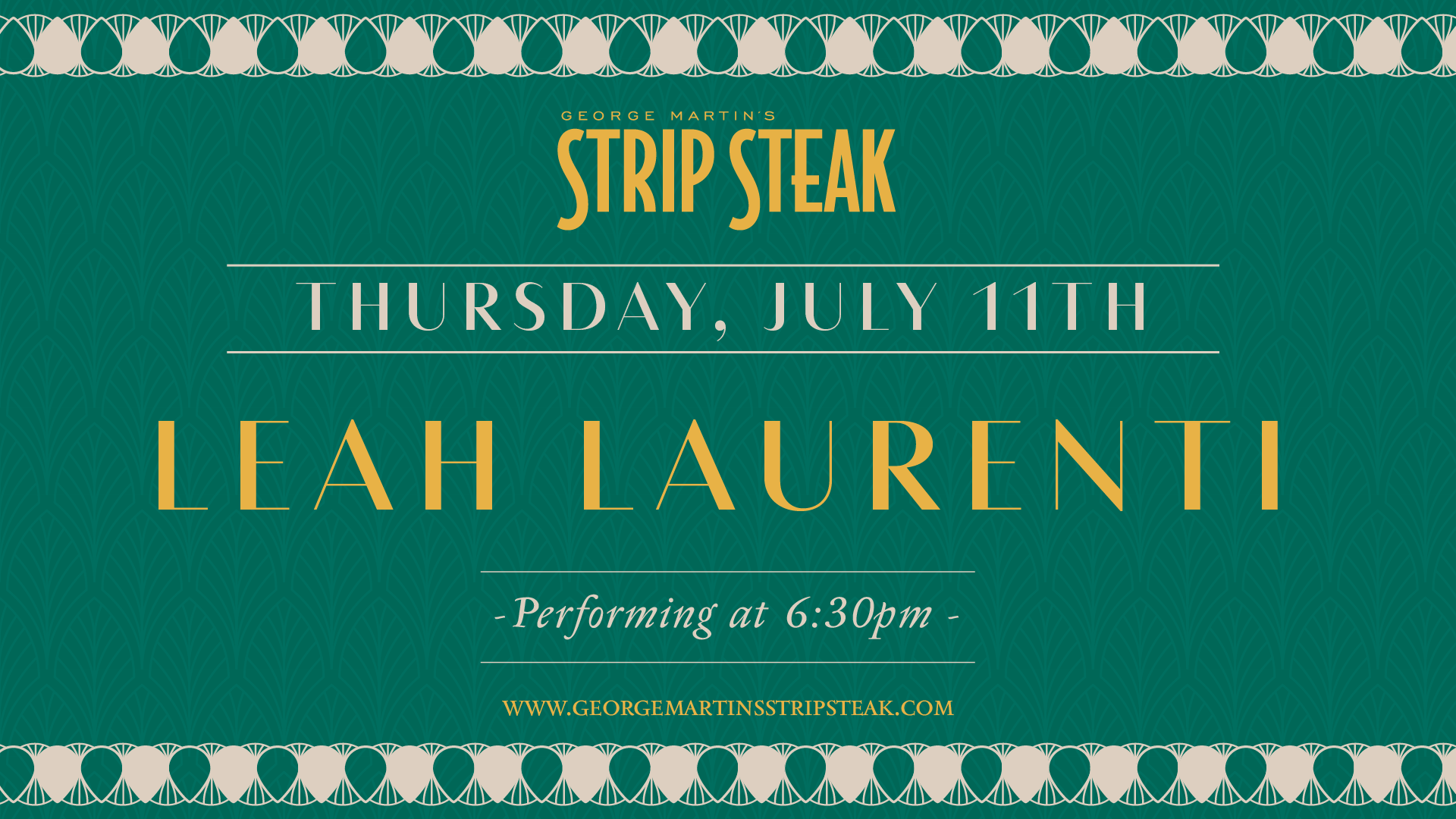 Flyer for live music with Leah Laurenti on July 11th at 6:30pm
