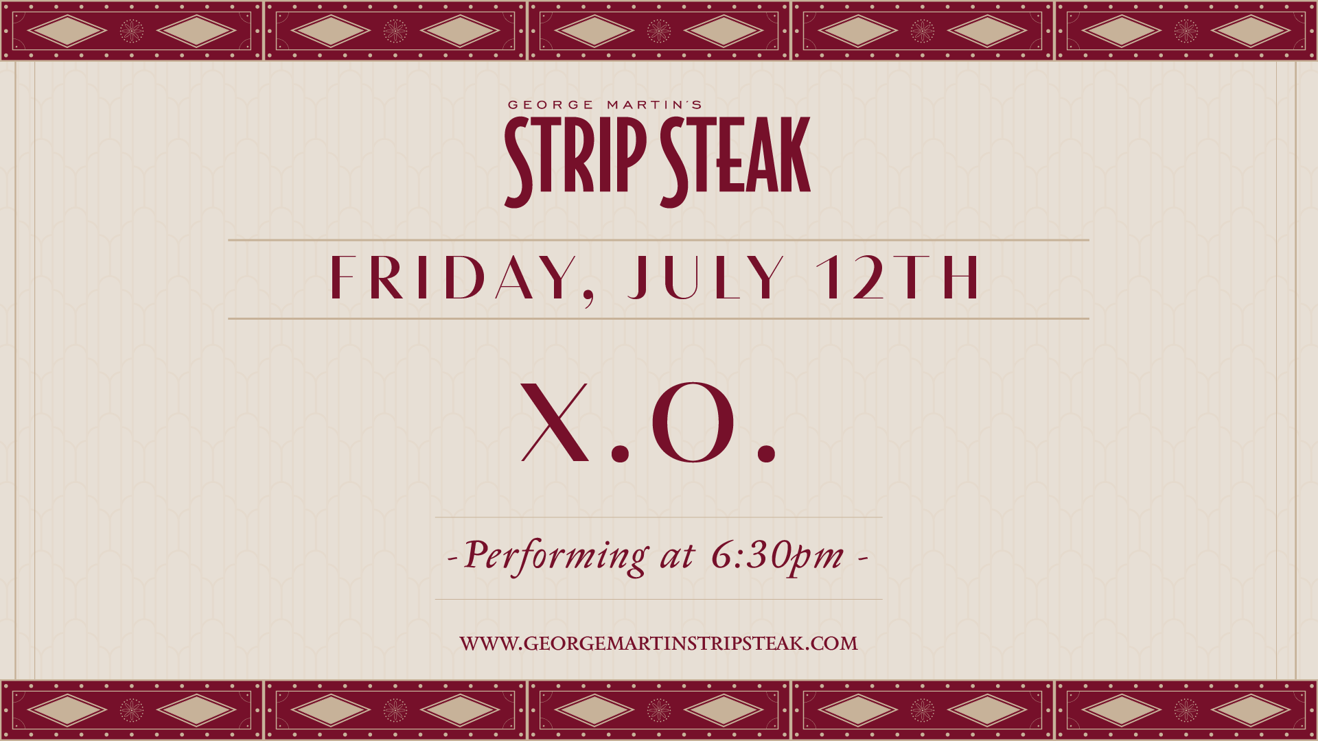 Flyer for live music with XO on July 12th at 6:30pm.
