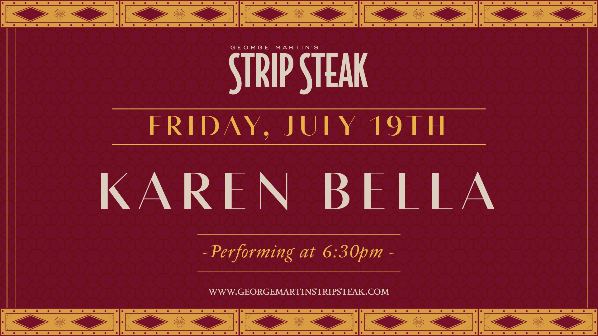 Flyer for live music with Karen Bella on July 19th at 6:30pm.