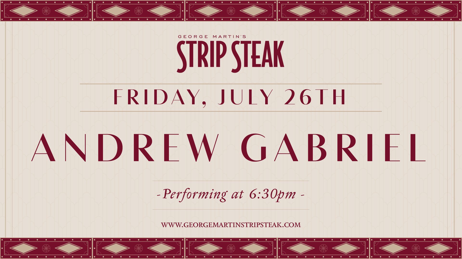 Flyer for live music with Andrew Gabriel on Friday July 26th at 6:30pm.