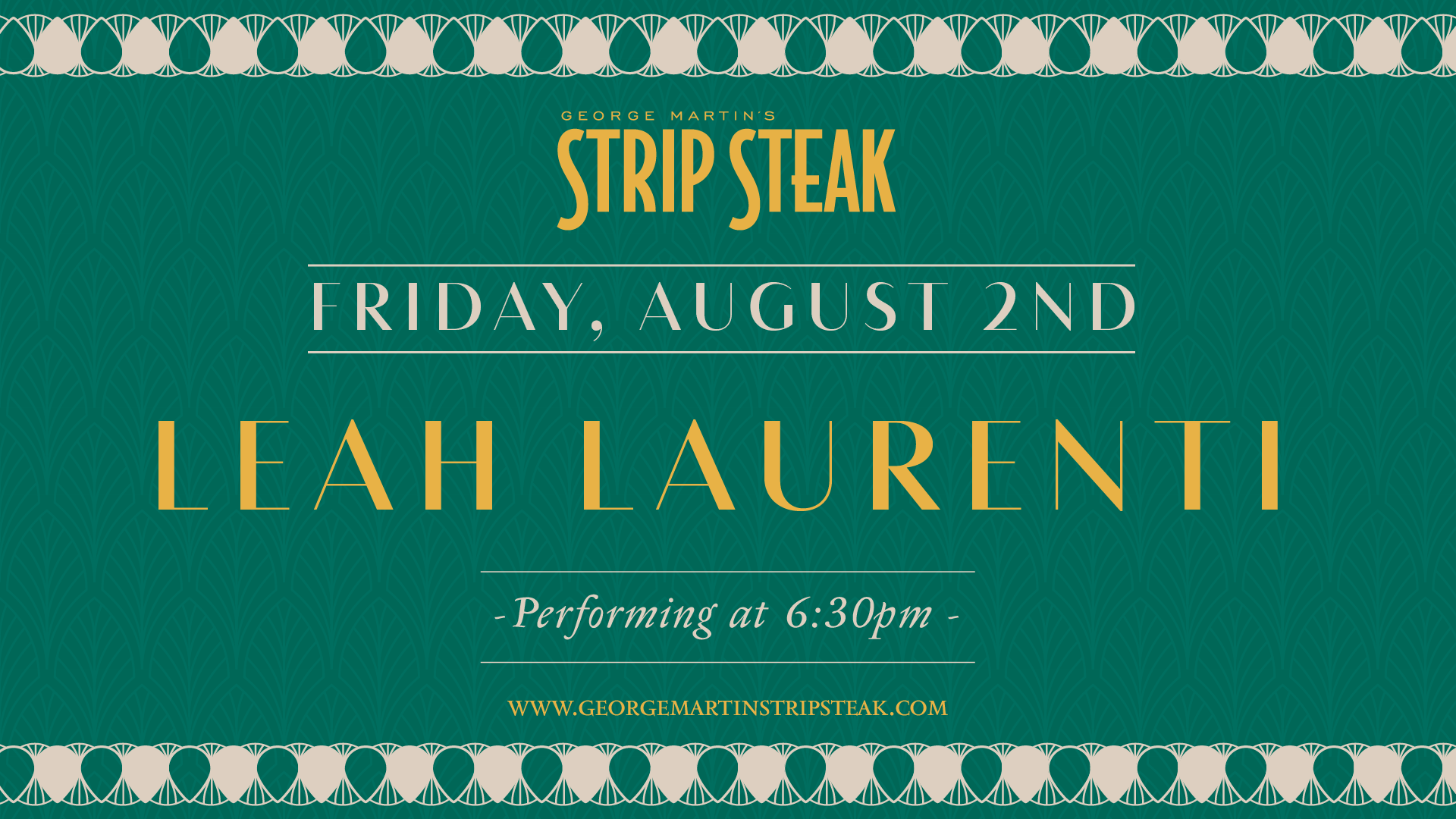 Flyer for live music with Leah Laurenti on August 2nd at 6:30pm