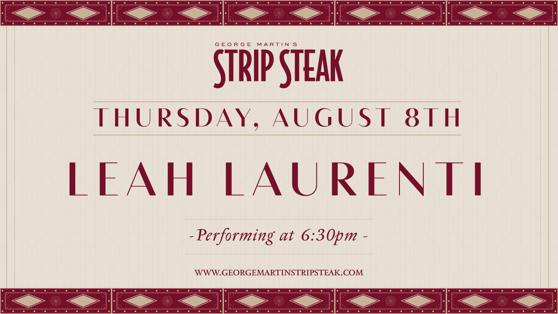 Flyer for live music with Leah Laurenti on August 8th at 6:30pm