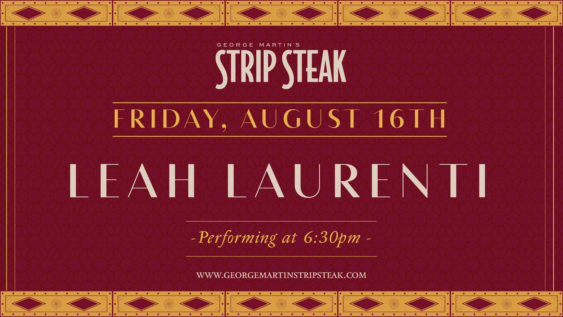 Flyer for live music with Leah Laurenti on August 16th at 6:30pm