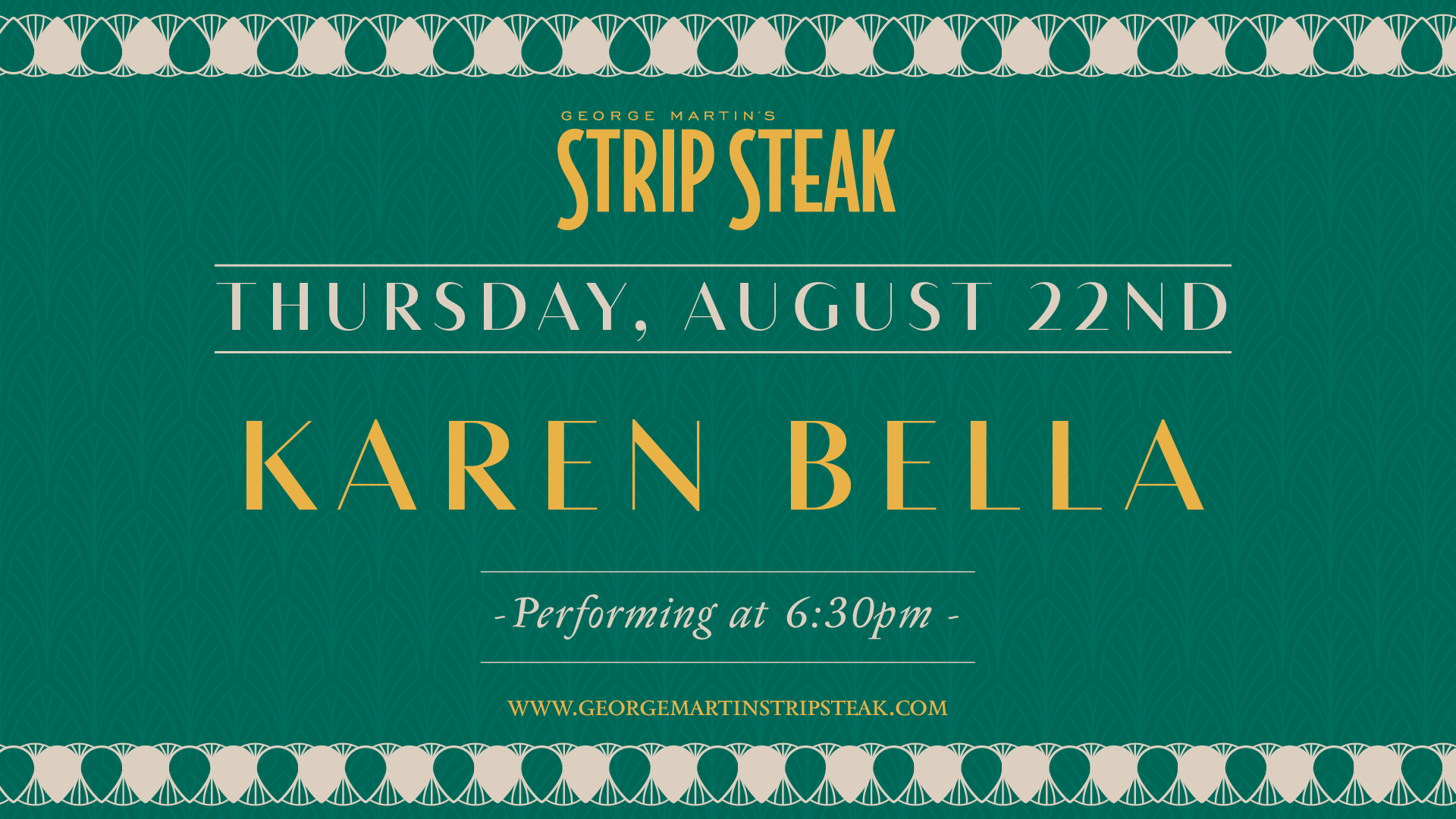 Flyer for live music with Karen Bella on August 22nd at 6:30pm